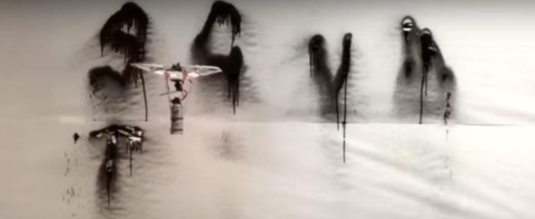 anti-trump graffiti drone
