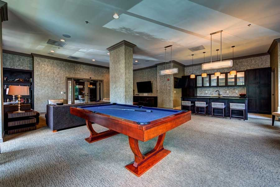 Billiards and clubhouse at The Eva