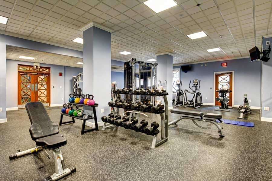 The fitness center at The Eva
