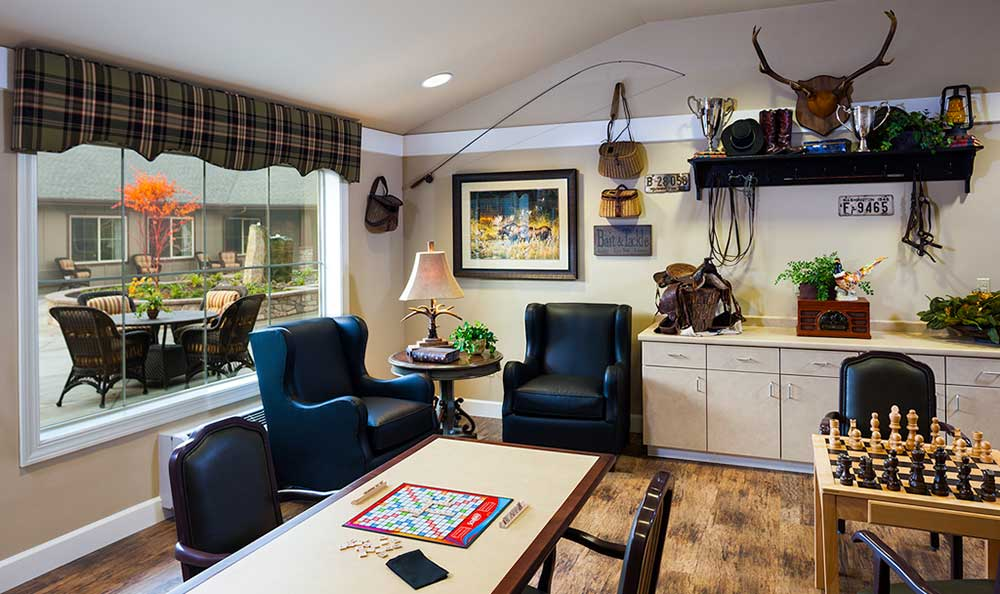 The senior living facility in Colorado Springs, CO, has a great game room where you or your loved one can socialize.