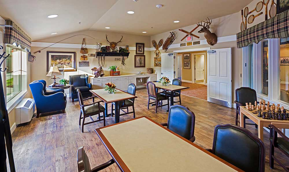 The senior living facility in Colorado Springs, CO, seating area.