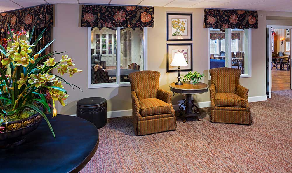 The senior living facility in Colorado Springs, CO, coffee table and chairs.