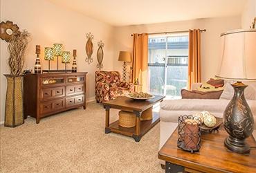 spacious living room at tulsa apartments