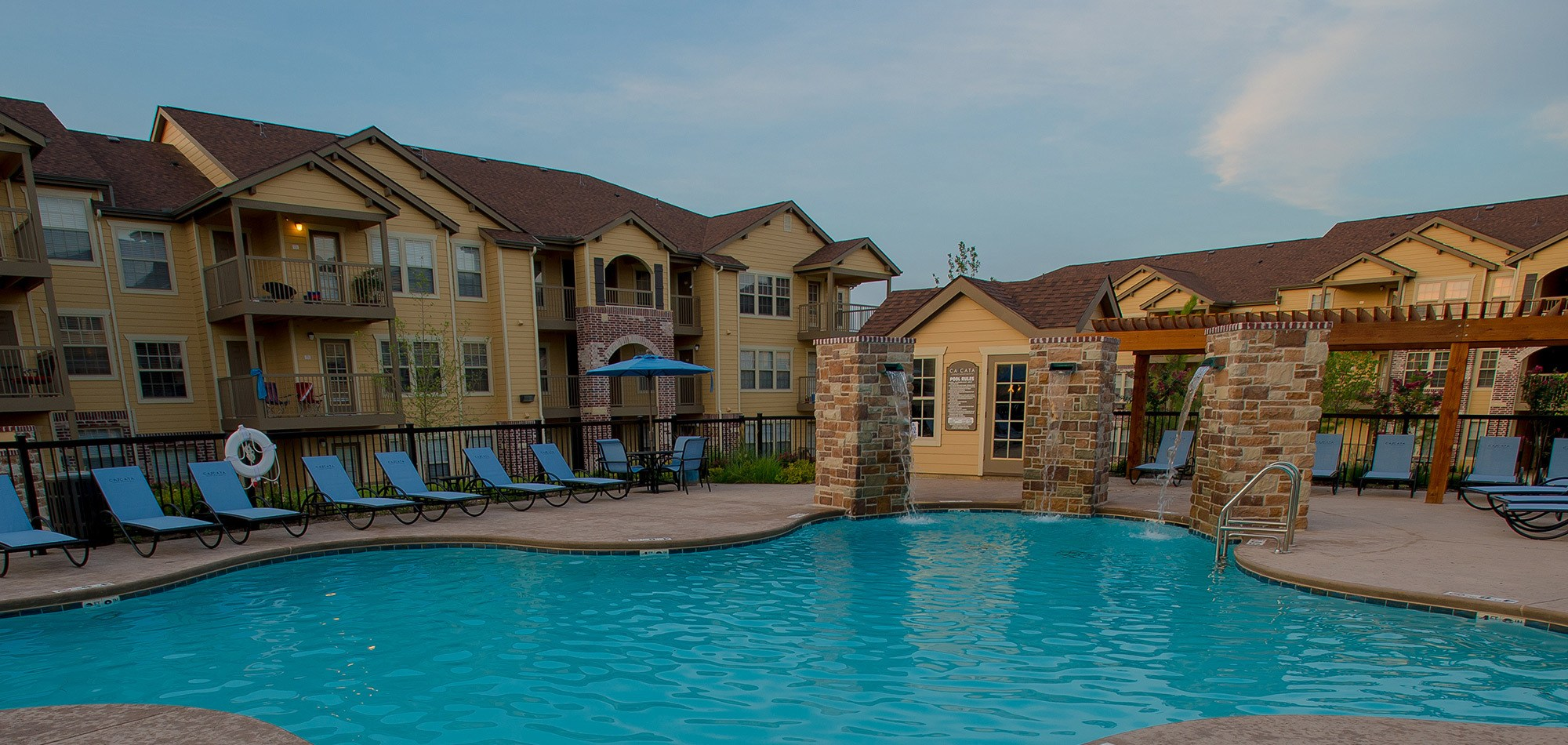 The sparkling swimming pool at our apartments in Tulsa will enchant you
