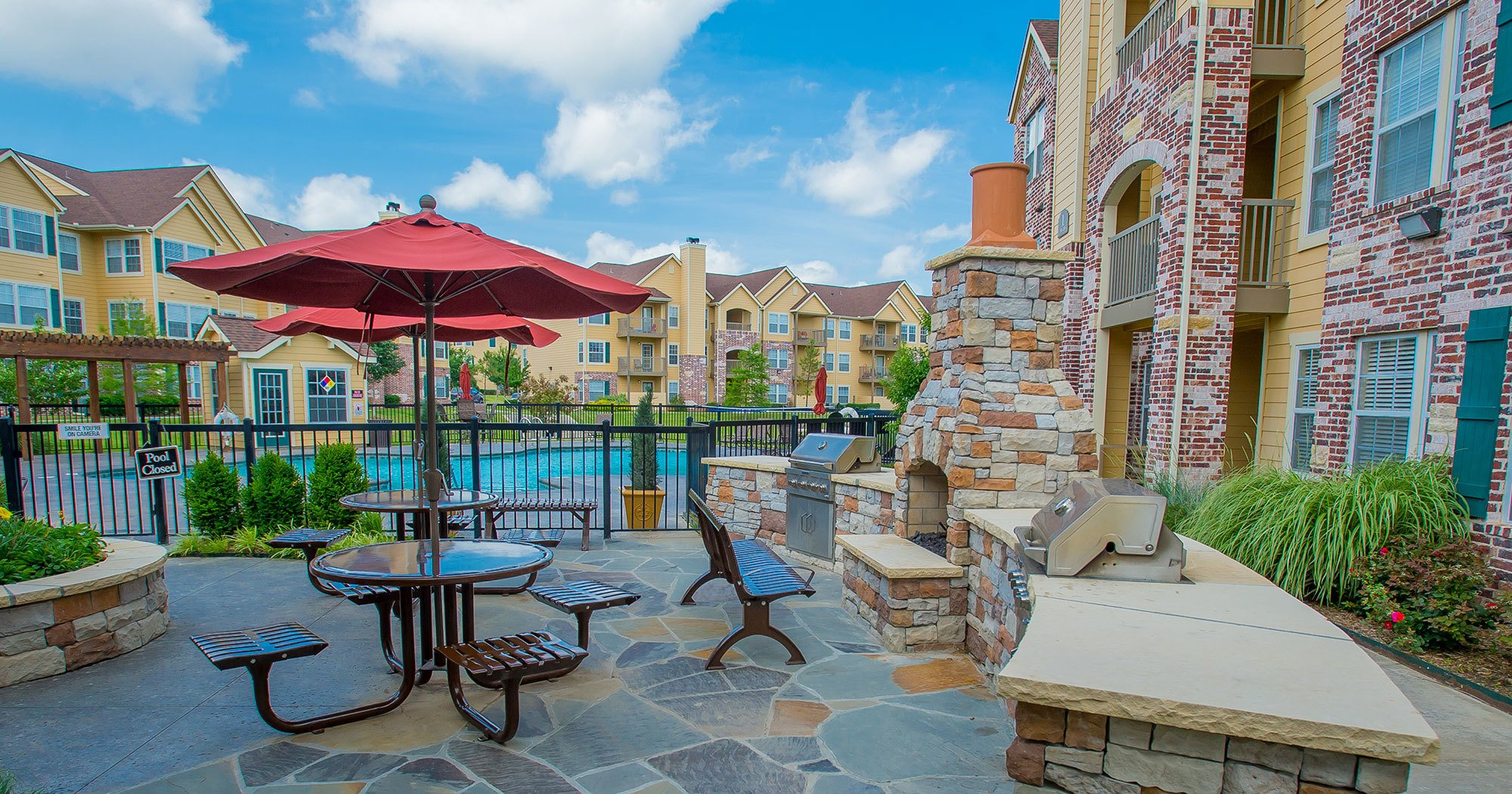 Swimming pool view at apartments in Broken Arrow
