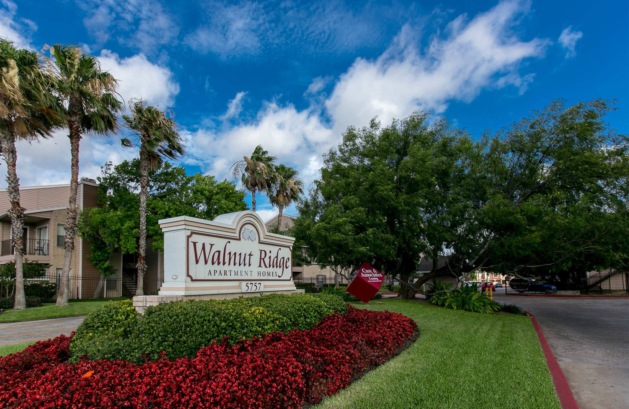 Walnut Ridge signage at apartments in Corpus Christi, TX