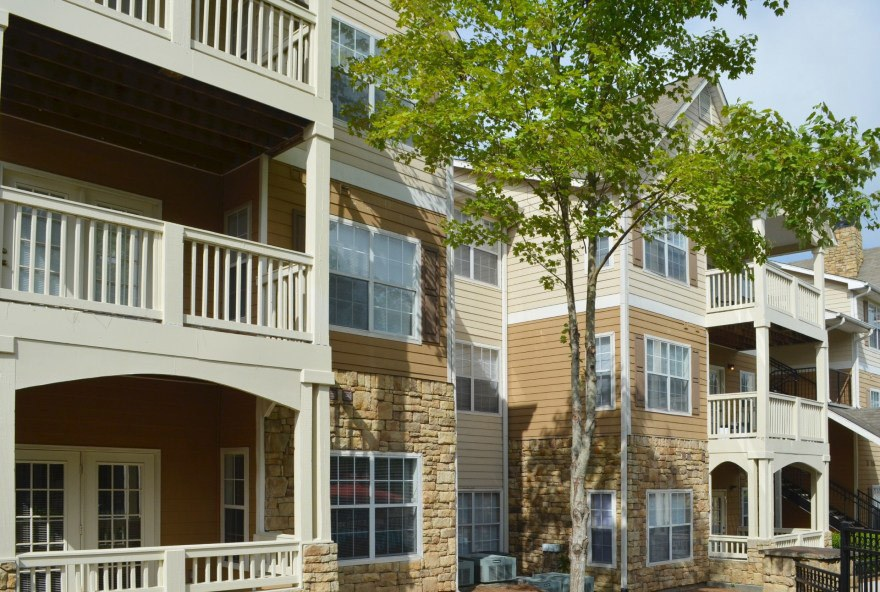 The outside view of our apartment complex in Norcross