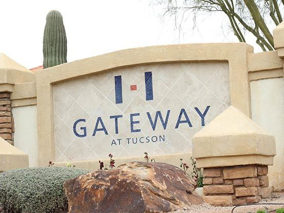Entrance sign to our apartments in Tucson