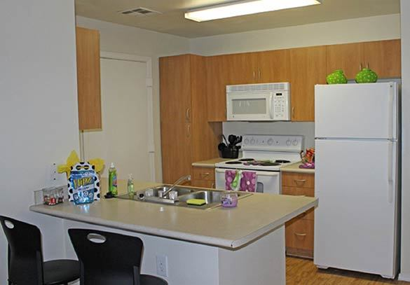 A view inside our Tucson apartments kitchen