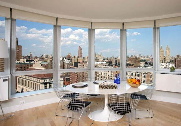 Upper West Side dining table with view of New York