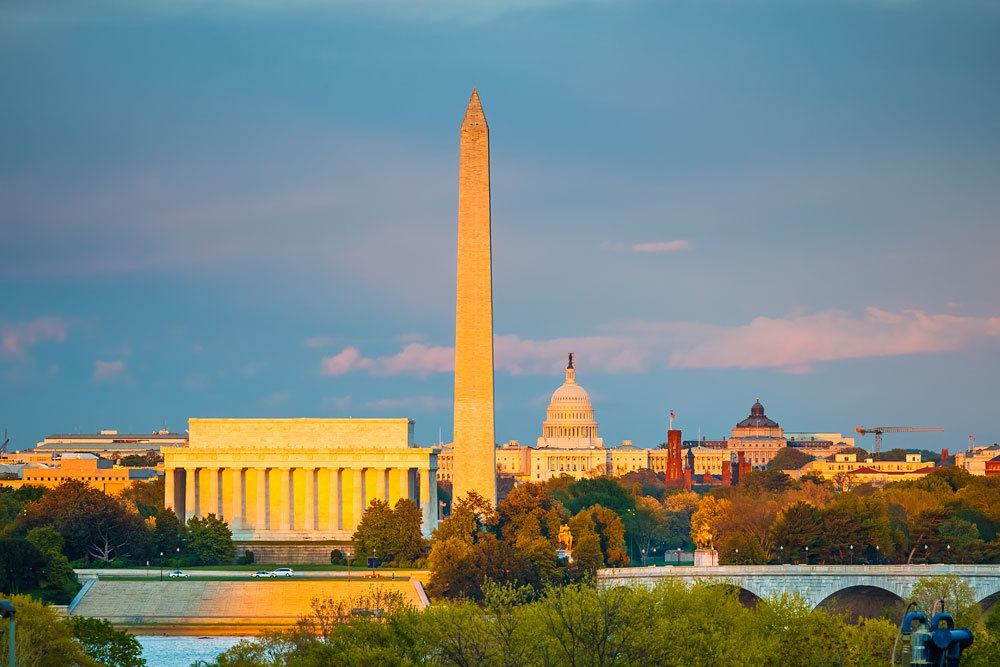 View of Washington DC at sunset