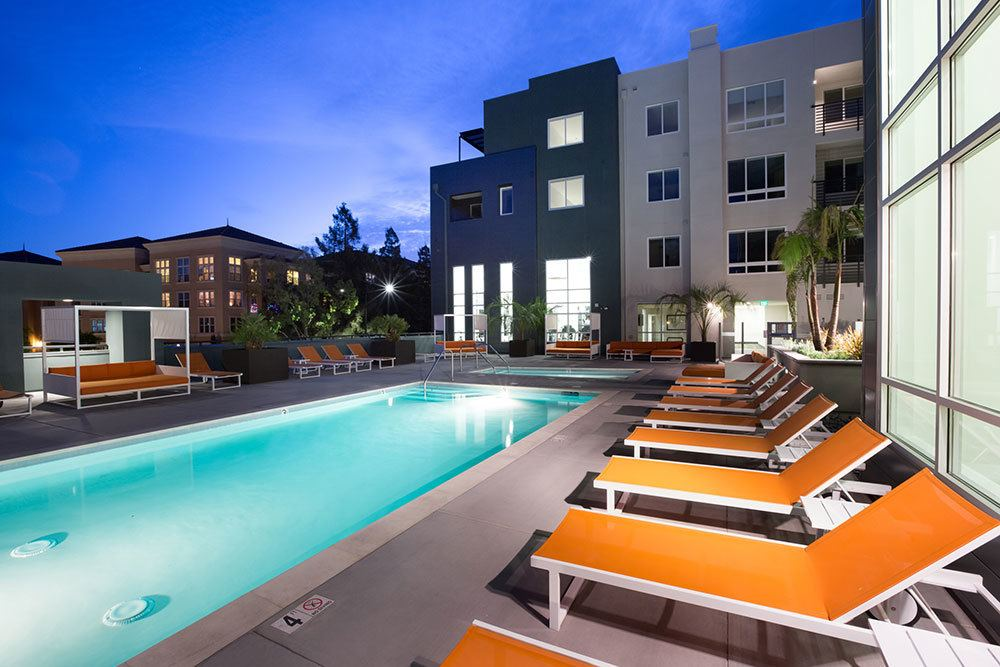 Swimming pool at the apartments in San Jose
