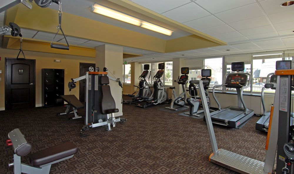Full gym and fitness center at our apartments in Towson, MD