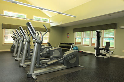 The fitness center at our Norwood apartments