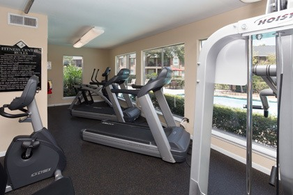 The fitness center at our Houston apartments