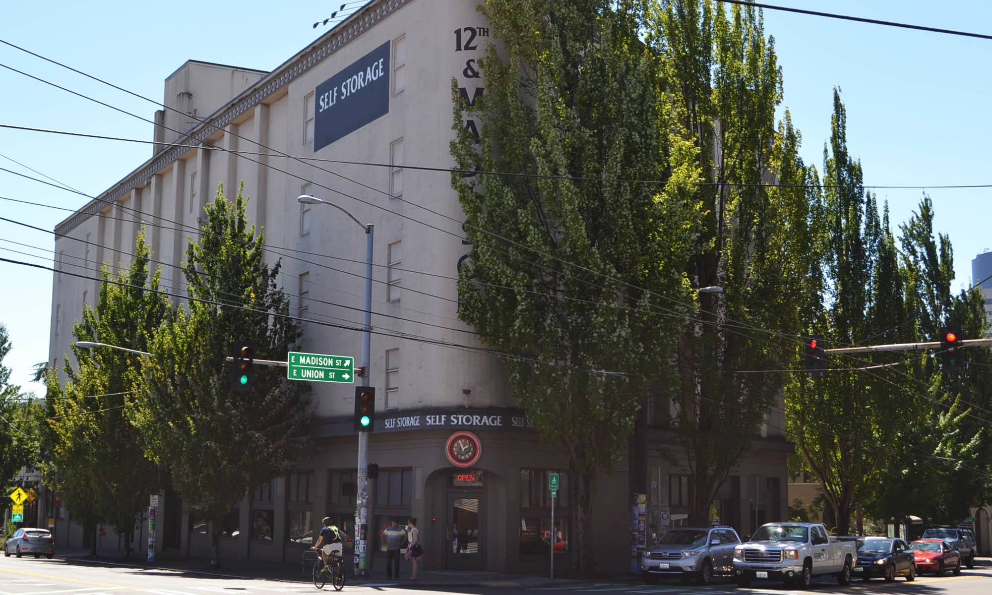 The exterior facade of fantastic self storage in Seattle, WA.