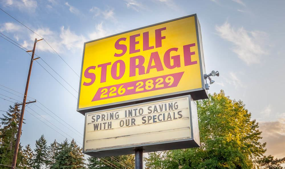 Welcoming sign at the self storage facility in Renton