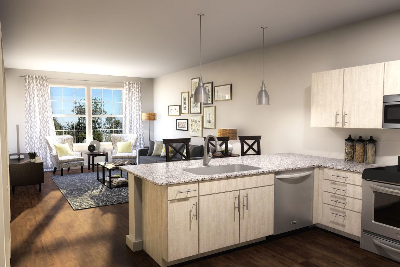 Kitchen area at Village Heights Senior Apartments in Fairport
