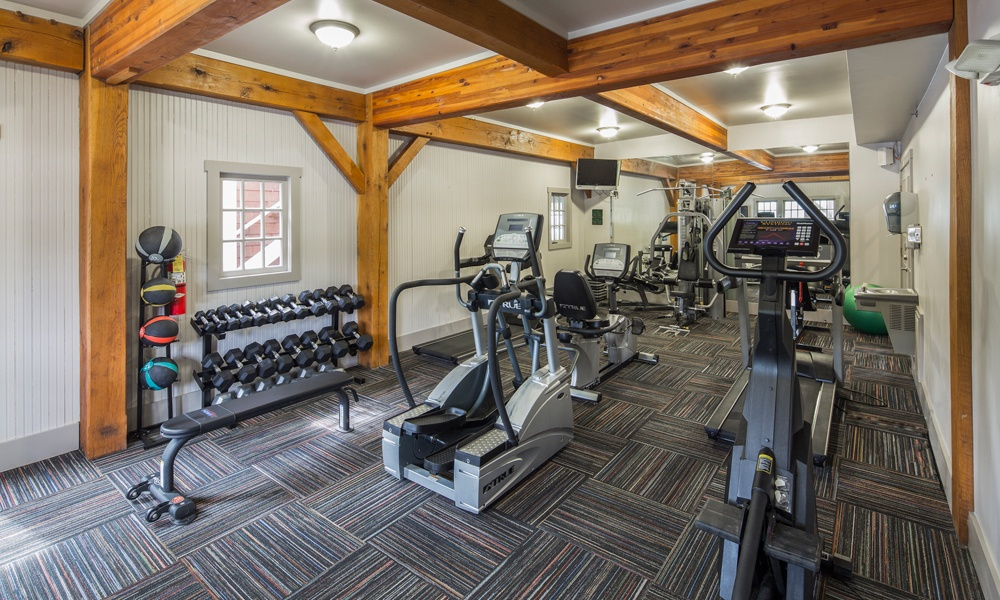 Fitness center at The Docks Apartments