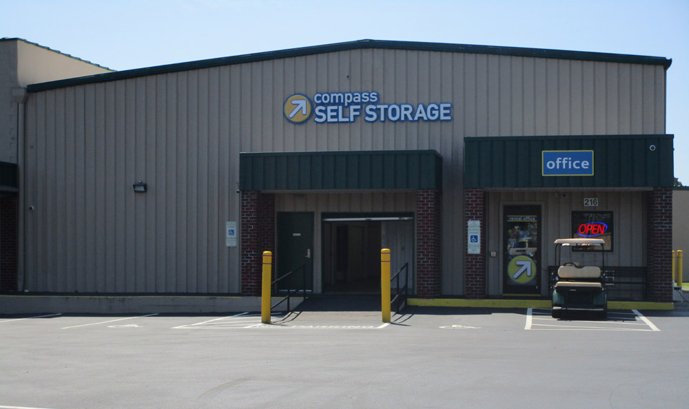 Exterior view of office at Compass Self Storage in Goldsboro, NC