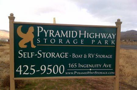 Sign from road at self storage in Sparks