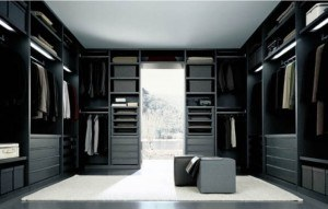Dark black and grey closet