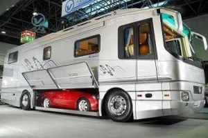 Exterior of RV with built in car storage