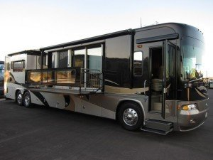 Exterior of RV with pop out patio