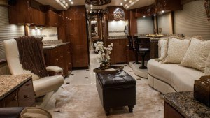 Interior of RV with couches and table
