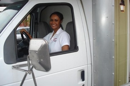 Employee Driving a Moving Truck at StorQuest Self Storage in Torrance, CA