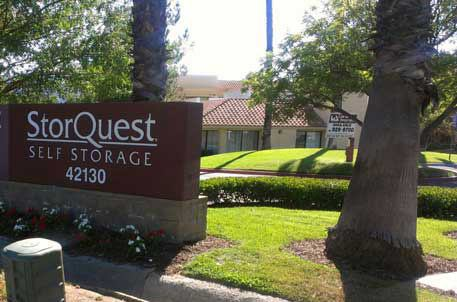 Temecula self storage facility entrance sign at StorQuest Self Storage