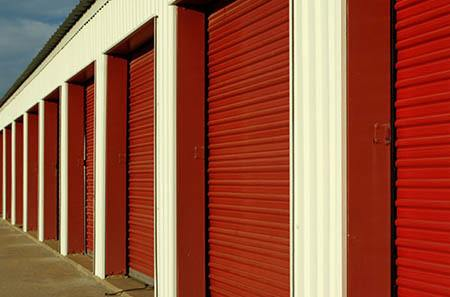 Exterior view of storage units at StorQuest Self Storage