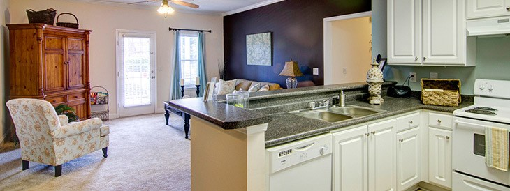 Spacious living rooms at our Warner Robins apartments