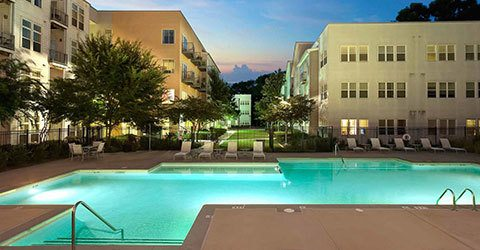 Swimming pool at night at our Atlanta apartments