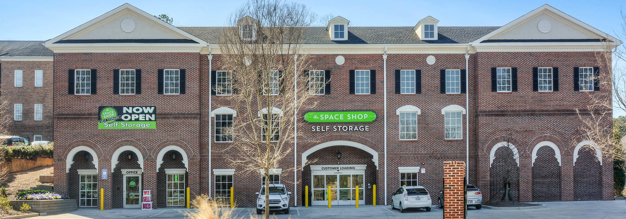 Front of building at Space Shop Self Storage in Marietta