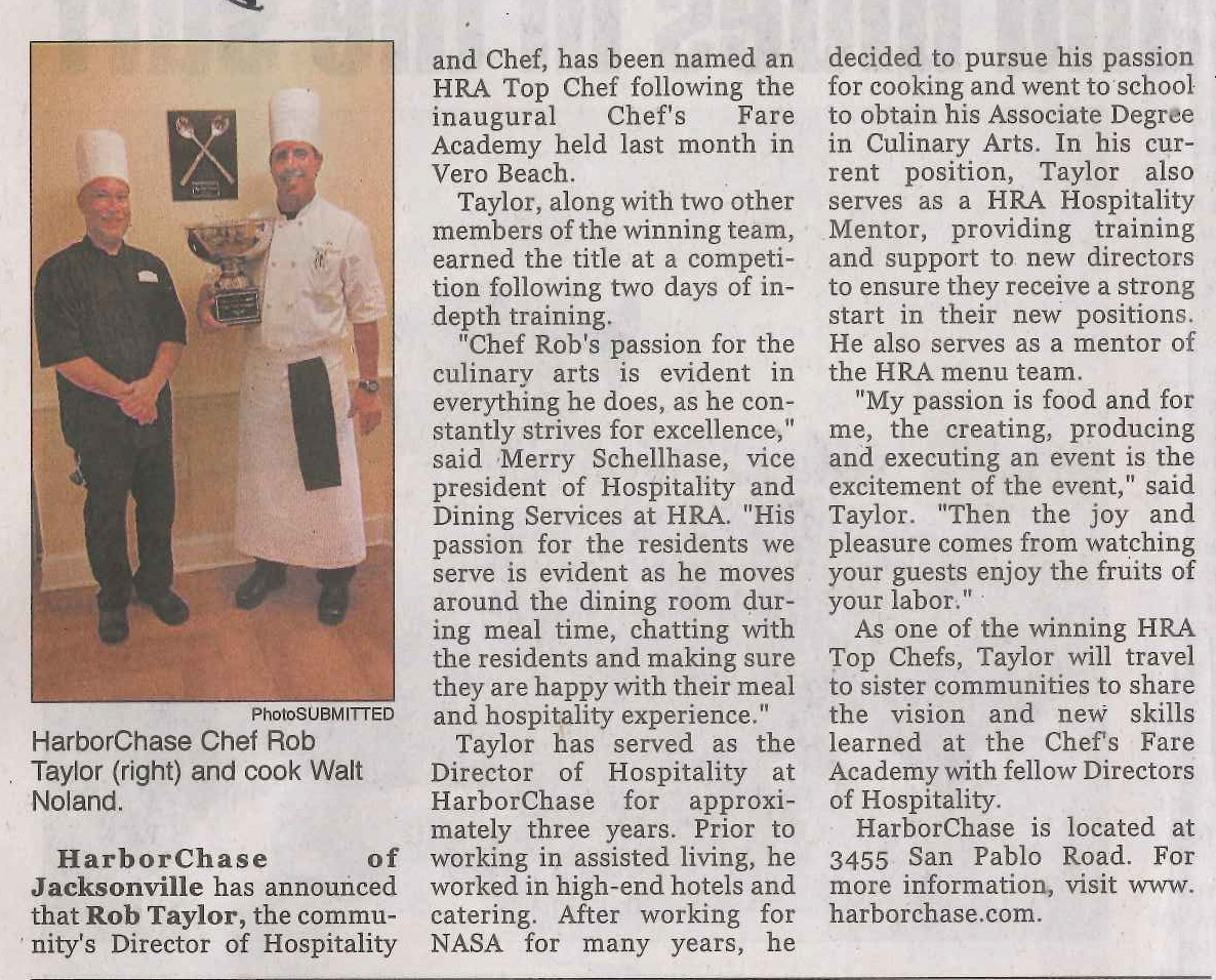 HarborChase Chef Rob Taylor & cook Walt Noland named HRA Top Chef