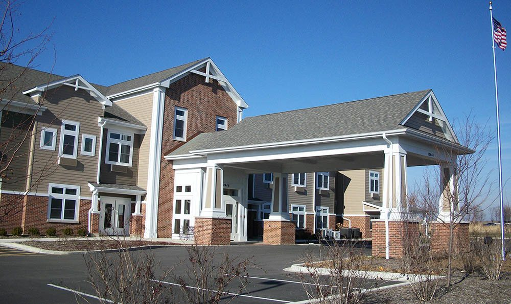 Entrance to our senior living facility in Plainfield