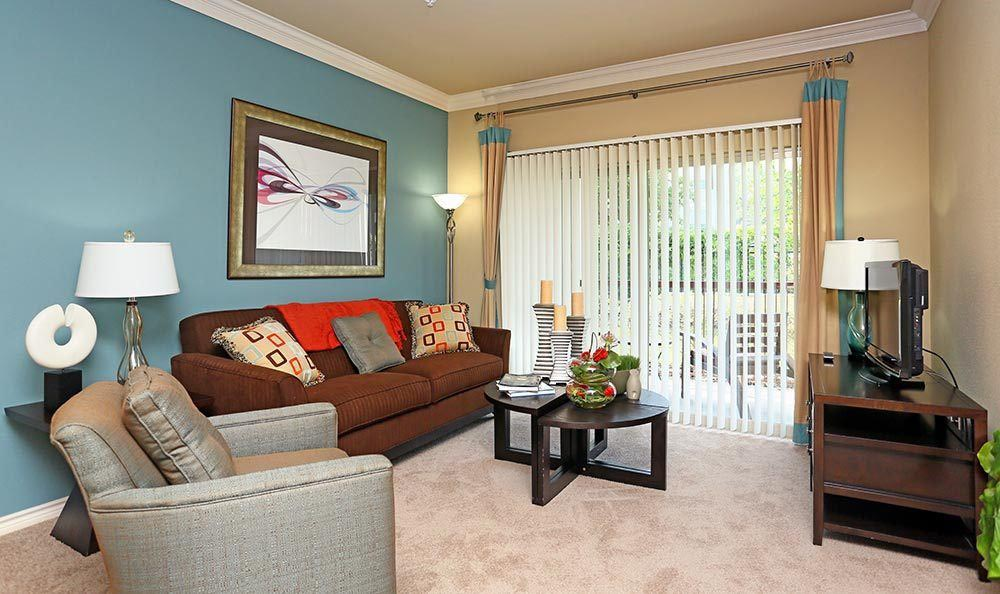 Living room inside apartments for rent at Sorrento at Tuscan Lakes