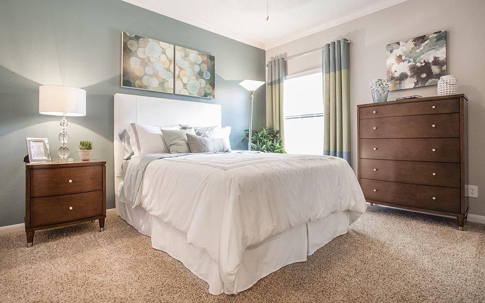 Model unit bedroom at Elle at The Medical Center
