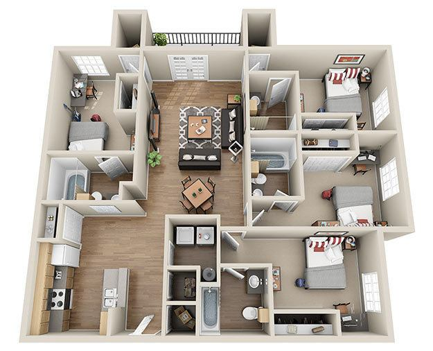 Four Bedroom Floor Plans luxury 3 & 4 bedroom student apartments in columbia, sc