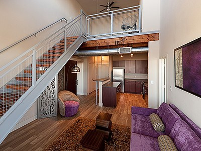 Interior view of one of our apartments with a loft at The Depot.