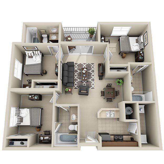 Luxury 3 & 4 Bedroom Student Apartments in Harrisonburg, VA