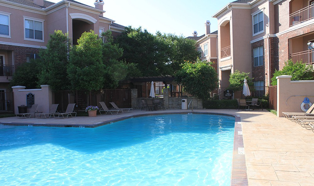 Shot of our outdoor sparkling swimming pool on a beautiful day here at Alexis at Town East