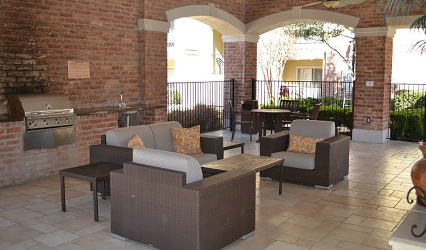 Our covered outdoor cabana near the pool is the perfect place to cool off on a warm day here at Southwind Apartments