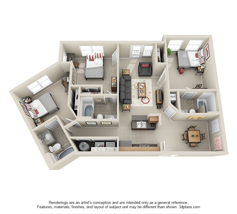 Three Bedroom Apartments Floor Plans affordable 2, 3 & 4 bedroom student apartments in atlanta, ga