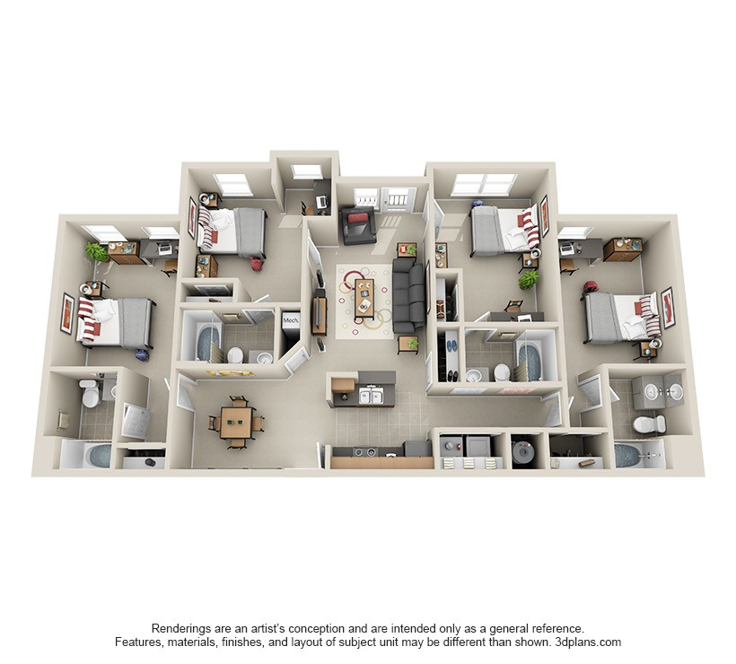 Bedroom Apartment Floor Plan affordable 2, 3 & 4 bedroom student apartments in atlanta, ga