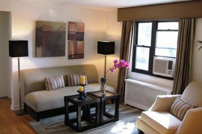 Warm and open living space at apartments for rent at Brookchester Apartments in New Milford.