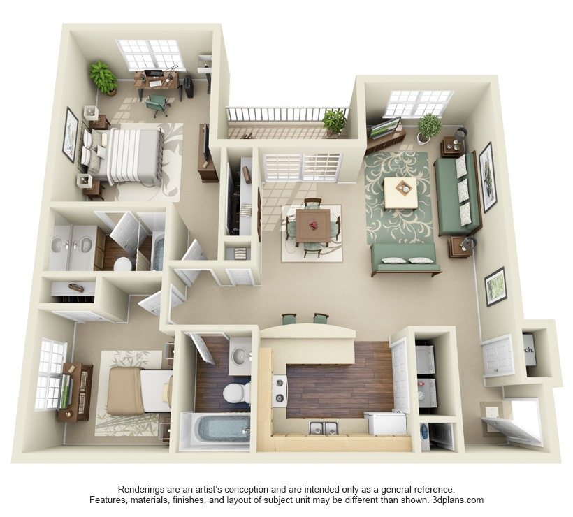 floor plan 2 bedroom apartment 3