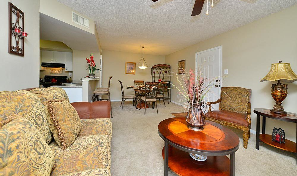 Living room at Palmetto Place Apartments in Miami.