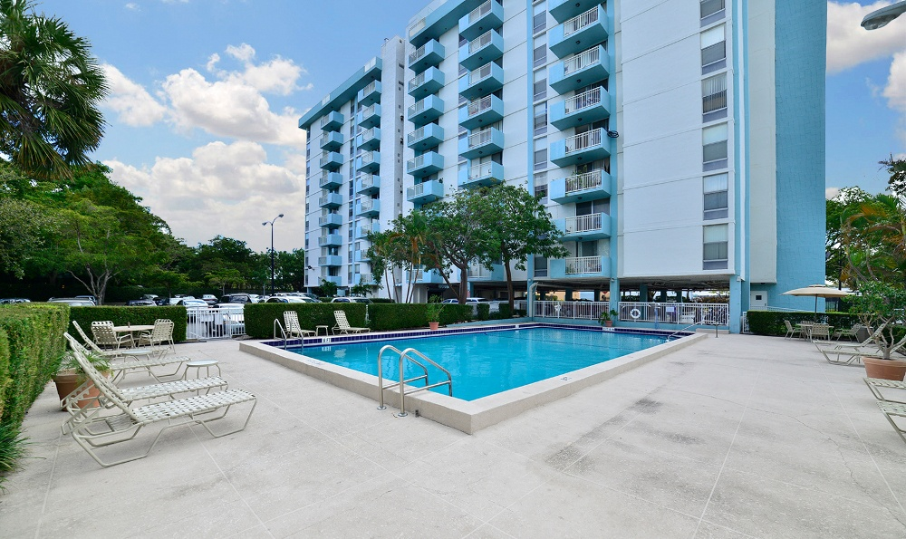 Resort-style pool at Forest Place Apartments in North Miami.